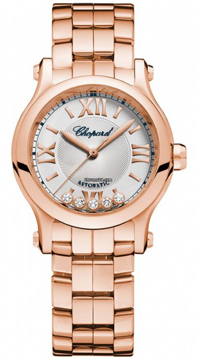 Chopard Happy Sport 18K Rose Gold & Diamonds Ladies Watch, 274893-5003