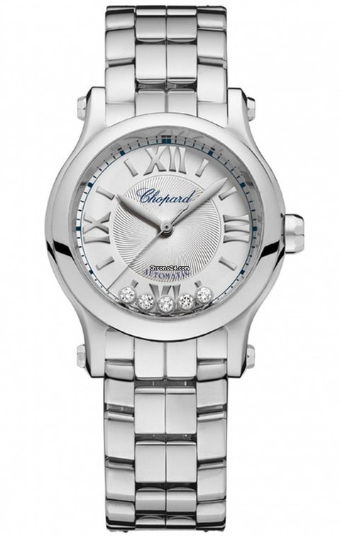 Chopard Happy Sport Stainless Steel & Diamonds Ladies Watch, 278573-3002