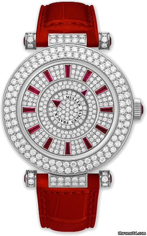 Franck Muller Double Mystery Ronde 18K White Gold, Diamonds & Rubies Ladies Watch, preowned.42-DM-D2R-CD-R