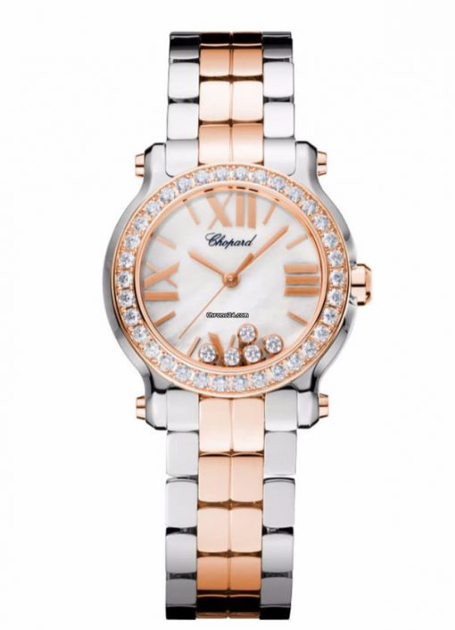 Chopard Happy Sport 18K Rose Gold, Stainless Steel & Diamonds Ladies Watch, 278509-6005