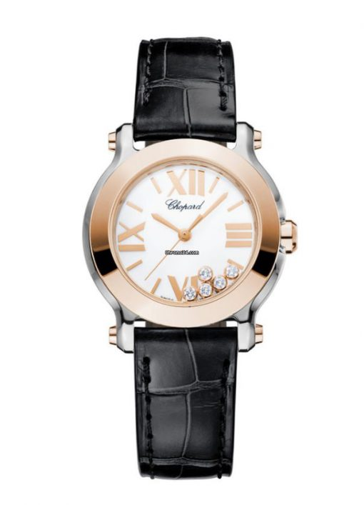 Chopard Happy Sport 18K Rose Gold, Stainless Steel & Diamonds Ladies Watch, 278509-6001