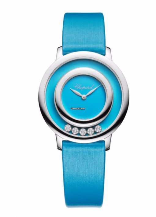 Chopard Happy Sport Icons 18K White Gold, Reconstructed Turquoise & Diamonds Ladies Watch, 209429-1104