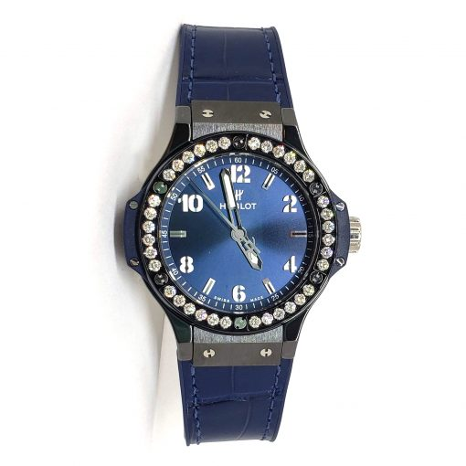 Hublot Big Bang 38 mm Ceramic Blue Diamonds Ladies Watch, 361.CM.7170.LR.1204