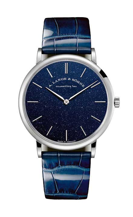 A. Lange and Sohne Saxonia Thin in Copper Blue 18k White Gold Men's Watch, 205.086