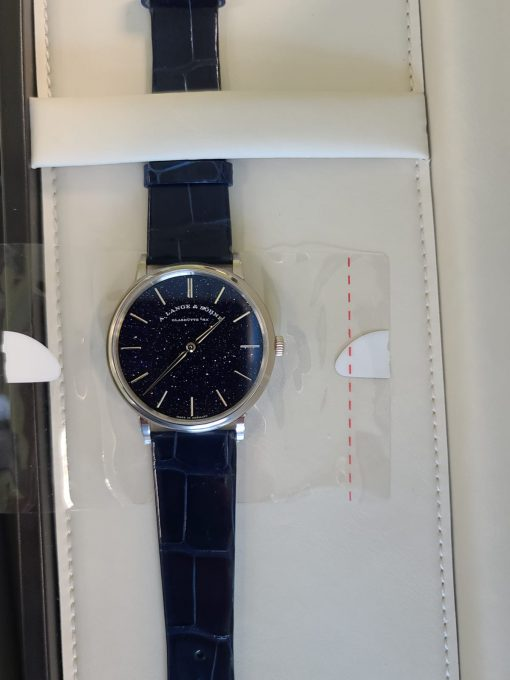 A. Lange and Sohne Saxonia Thin in Copper Blue 18k White Gold Men's Watch, 205.086 3