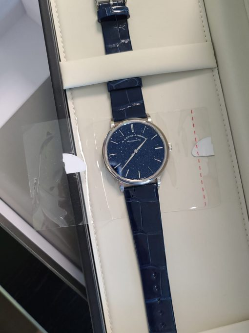 A. Lange and Sohne Saxonia Thin in Copper Blue 18k White Gold Men's Watch, 205.086 4