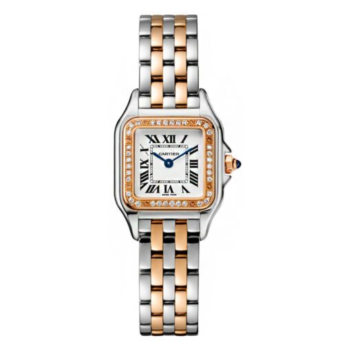 Cartier Panthère 18K Pink Gold & Stainless Steel & Diamonds Small Model Ladies Watch, W3PN0006