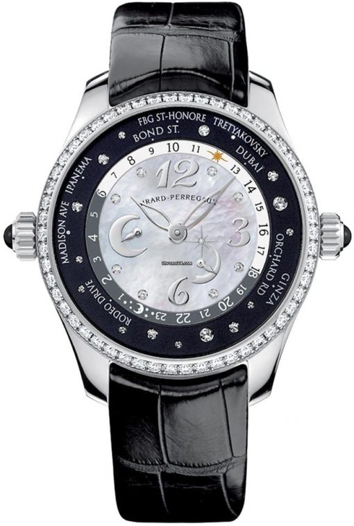 Girard-Perregaux WW.TC Lady 24 Hour Shopping Stainless Steel & Diamonds Ladies Watch, preowned.49860D11A762ACK6A