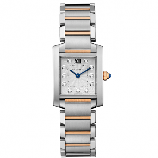 Cartier Tank Francaise Stainless Steel & 18K Pink Gold Ladies Watch, WE110004