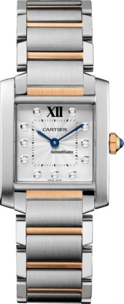 Cartier Tank Francaise Stainless Steel & 18K Pink Gold Ladies Watch WE110005