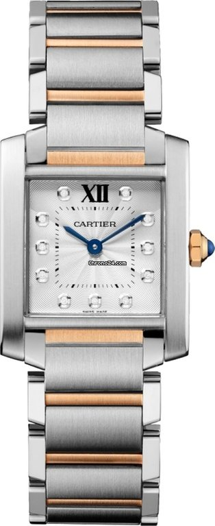 Cartier Tank Francaise Stainless Steel & 18K Pink Gold Ladies Watch, WE110005