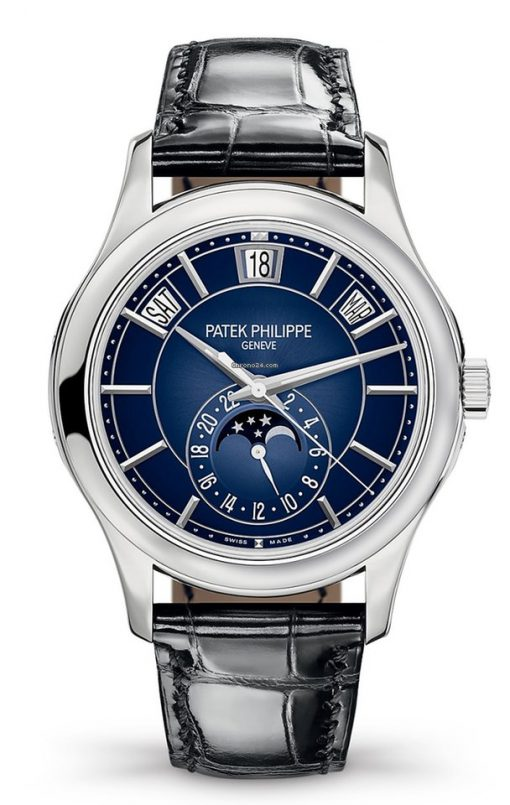 Patek Philippe Complications Moonphase 18k White Gold Men's Watch, 5205G-013