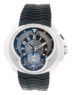 Franc Vila World Timer GMT Stainless Steel Men's Watch preowned.FVa5