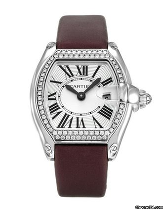 Cartier Roadster 18k White Gold & Diamonds Ladies Watch, preowned.WE500260