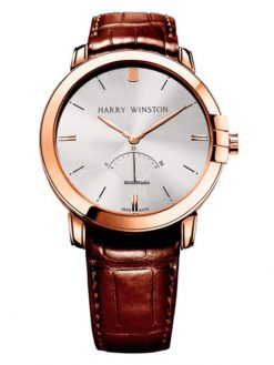 Harry Winston Midnight Retrograde 18K Rose Gold Men's Watch preowned.MIDARS42-2