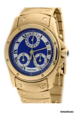 Cartier Cougar Chronograph 18K Rose Gold Ladies Watch preowned.Chronograph