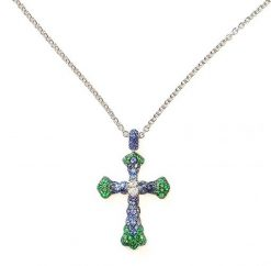 De Grisogono Croix Pendant with Sapphires and Emeralds 90697/12-spe2