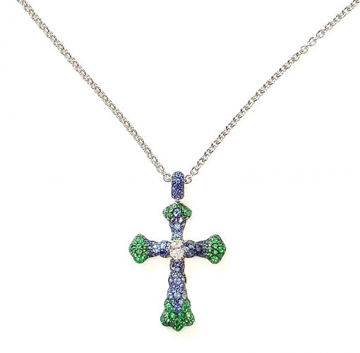 De Grisogono Croix Pendant with Sapphires and Emeralds, 90697/12-spe2