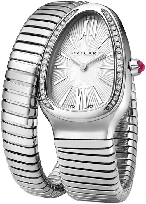 Bvlgari Serpenti Tubogas Stainless Steel & Diamonds & Rubellite Ladies Watch, SP35C6SDS.1T-101816