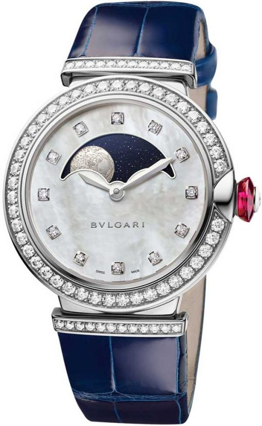 Bvlgari Lucea Moon Phase 18K White Gold & Diamonds Ladies Watch, LUW36AGDL/12MP-102687