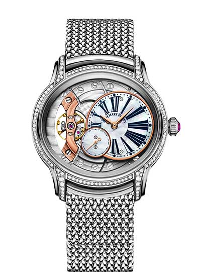 Audemars Piguet Millenary Hand-Wound 18K White Gold & Diamonds Ladies Watch, 77247BC.ZZ.1272BC.01