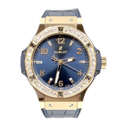 Hublot Big Bang 38 mm Gold Blue Diamonds Ladies Watch, 361.PX.7180.LR.1204