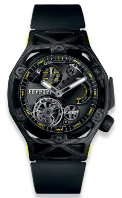Hublot Techframe Ferrari Tourbillon Chronograph Carbon Yellow Men's Watch 408.QU.0129.RX