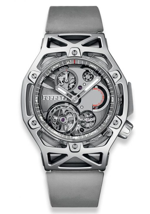 Hublot Techframe Ferrari Tourbillon Chronograph Sapphire White Gold Men's Watch, 408.JW.0123.RX