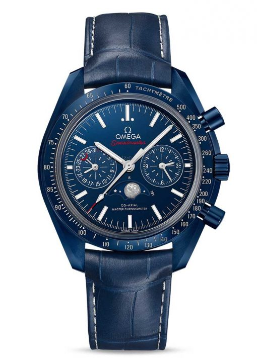 """Omega Speedmaster Moonwatch Co-Axial Master Moonphase """"Blue Side Of The Moon"""" Ceramic Men`s Watch, 304.93.44.52.03.001"""