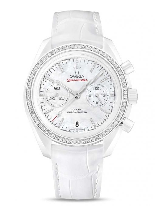 "Omega Speedmaster Moonwatch Co-Axial ""White Side of the Moon""  Ceramic Men`s Watch, 311.98.44.51.55.001"