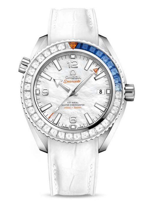 Omega Seamaster Planet Ocean Co-Axial Master 18K White Gold & Diamonds & Sapphires Limited Edition Unisex Watch, 215.58.40.20.05.001