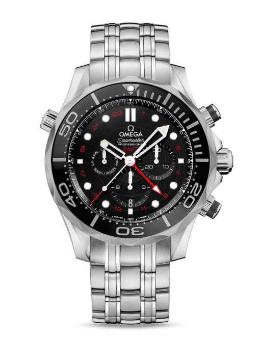 Omega Seamaster Diver Co-Axial GMT Stainless Steel Men`s Watch, 212.30.44.52.01.001