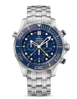 Omega Seamaster Diver Co-Axial GMT Stainless Steel Men`s Watch 212.30.44.52.03.001