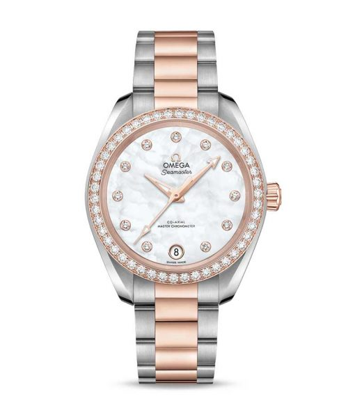 Omega Seamaster Aqua Terra Co-Axial Master Stainless Steel & 18K Sedna™ Gold & Diamonds Ladies Watch, 220.25.34.20.55.001