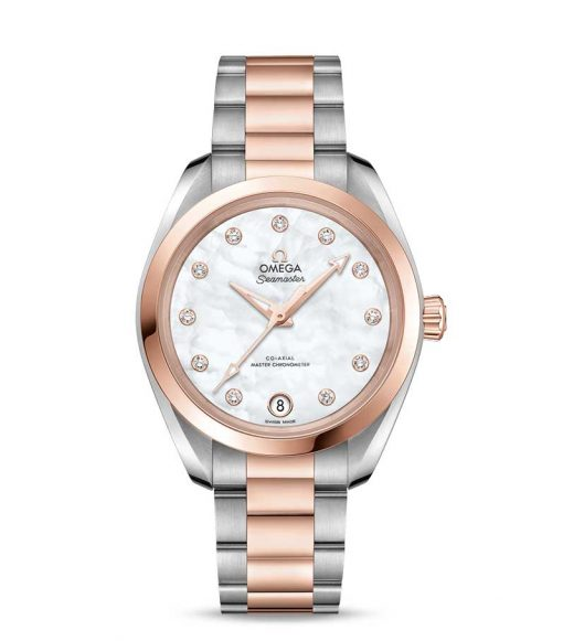 Omega Seamaster Aqua Terra Co-Axial Master Stainless Steel & 18K Sedna™ Gold & Diamonds Ladies Watch, 220.20.34.20.55.001