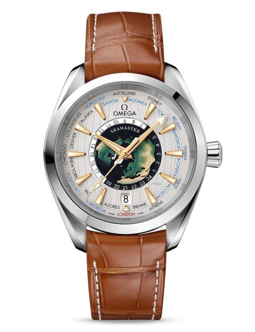 Omega Seamaster Aqua Terra Co-Axial Master GMT Worldtimer Edition Stainless Steel Men`s Watch, 220.93.43.22.99.001