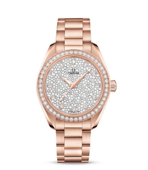 Omega Seamaster Aqua Terra Co-Axial Master 18K Sedna™ Gold & Diamonds Ladies Watch, 220.55.34.20.99.003