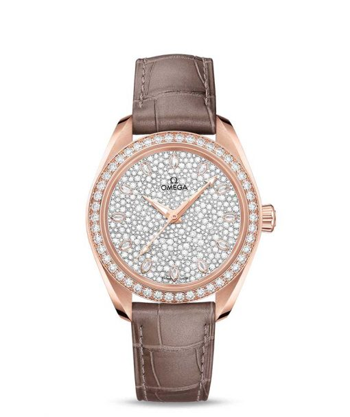 Omega Seamaster Aqua Terra Co-Axial Master 18K Sedna™ Gold & Diamonds Ladies Watch, 220.58.34.20.99.003