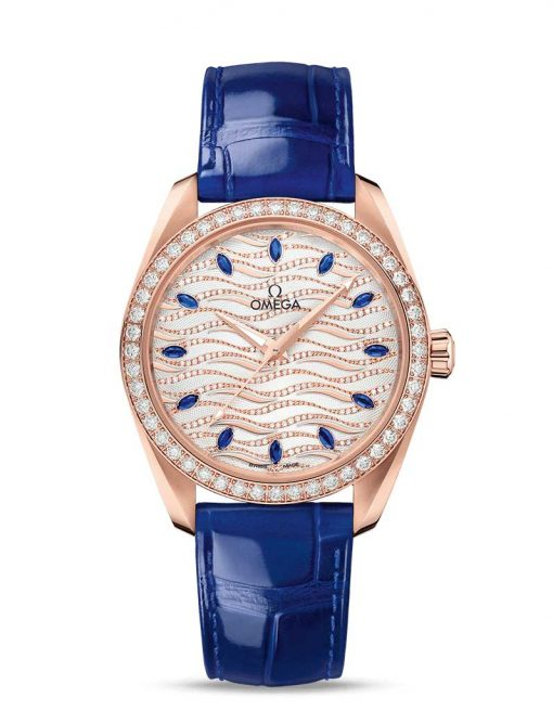 Omega Seamaster Aqua Terra Co-Axial Master 18K Sedna™ Gold & Diamonds & Sapphires Ladies Watch, 220.58.38.20.99.005