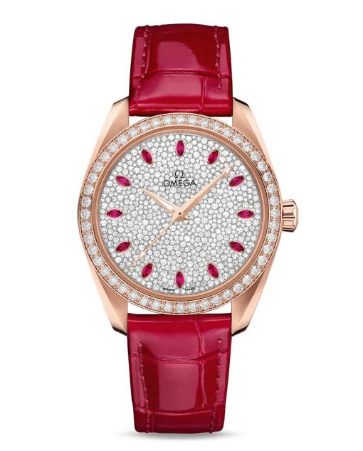 Omega Seamaster Aqua Terra Co-Axial Master 18K Sedna™ Gold & Diamonds & Rubies Ladies Watch, 220.58.38.20.99.001