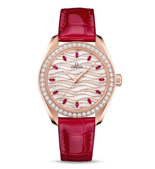 Omega Seamaster Aqua Terra Co-Axial Master 18K Sedna™ Gold & Diamonds & Rubies Ladies Watch, 220.58.34.20.99.004