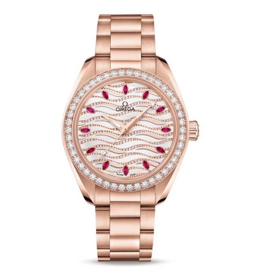 Omega Seamaster Aqua Terra Co-Axial Master 18K Sedna™ Gold & Diamonds & Rubies Ladies Watch, 220.55.34.20.99.004