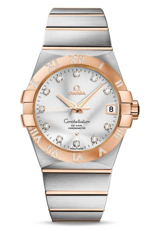 Omega Constellation Co-Axial 18K Red Gold & Stainless Steel & Diamonds Unisex Watch, 123.25.38.21.52.003
