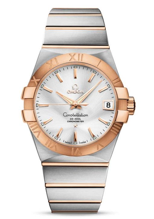 Omega Constellation Co-Axial 18K Red Gold & Stainless Steel & Diamonds Unisex Watch, 123.20.38.21.02.001