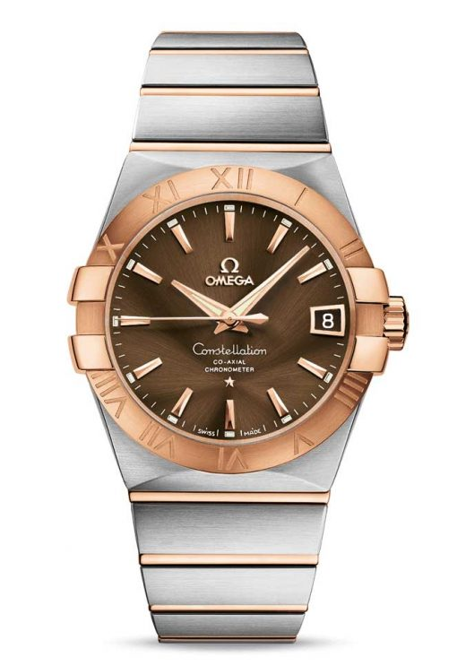 Omega Constellation Co-Axial 18K Red Gold & Stainless Steel & Diamonds Unisex Watch, 123.20.38.21.13.001
