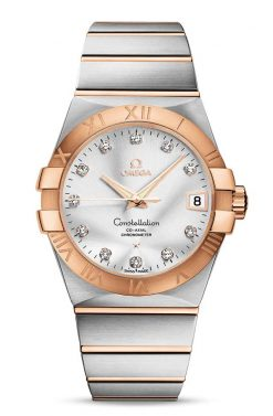 Omega Constellation Co-Axial 18K Red Gold & Stainless Steel & Diamonds Unisex Watch 123.20.38.21.52.001