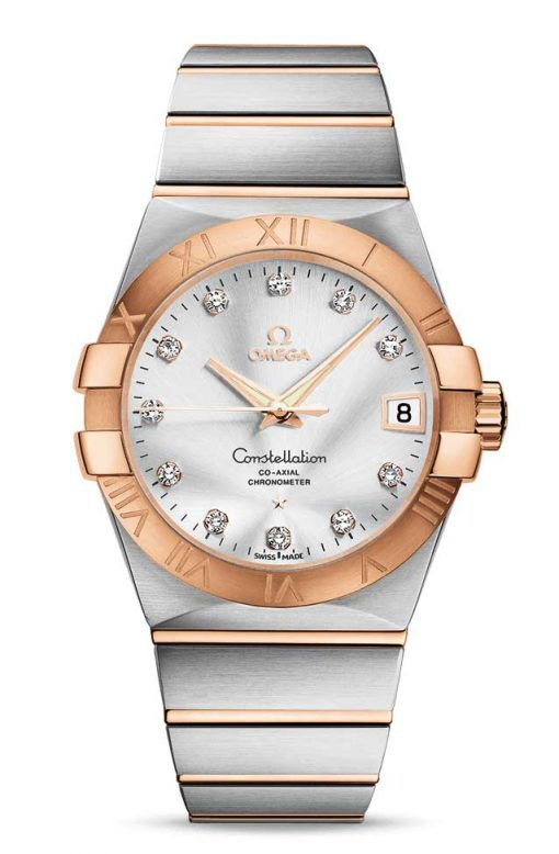 Omega Constellation Co-Axial 18K Red Gold & Stainless Steel & Diamonds Unisex Watch, 123.20.38.21.52.001