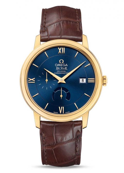 Omega De Vile Prestige Co-Axial Power Reserve 18K Yellow Gold Men's Watch, 424.53.40.21.03.001