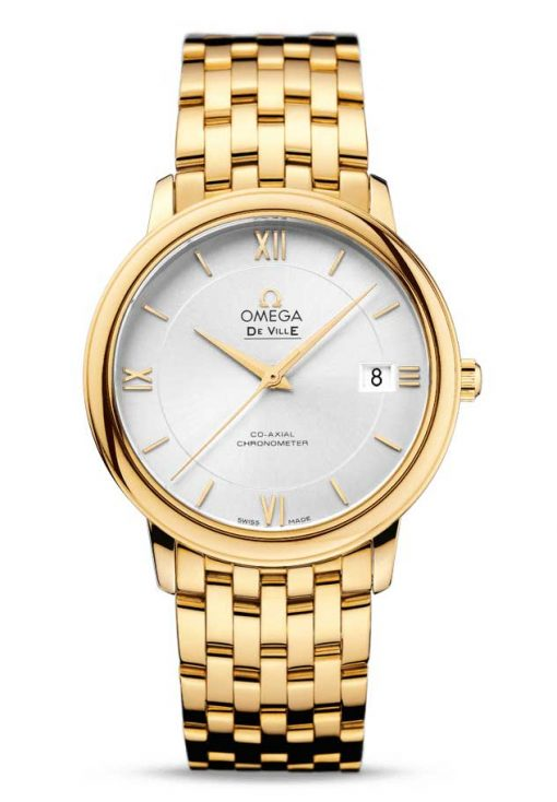 Omega De Vile Prestige Co-Axial 18K Yellow Gold Men's Watch, 424.50.37.20.02.002