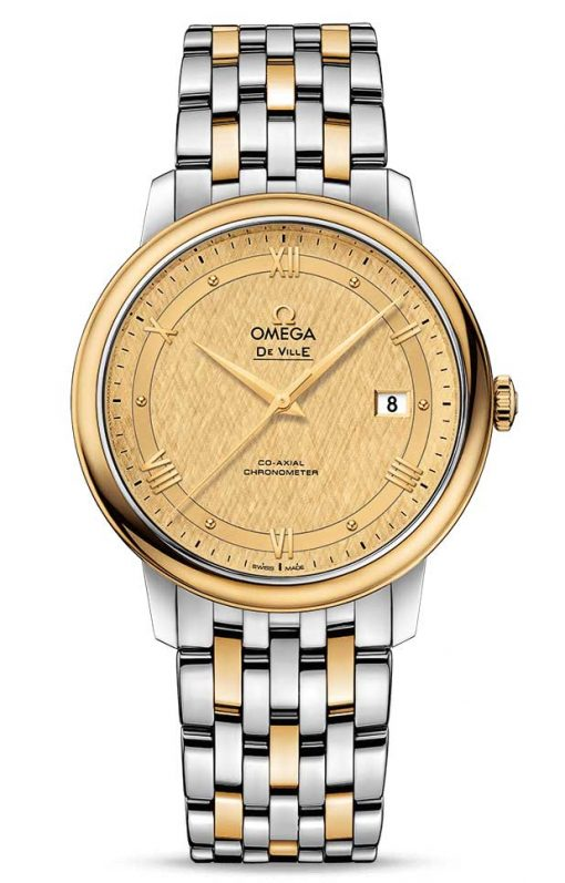 Omega De Vile Prestige Co-Axial 18K Yellow Gold & Stainless Steel Men's Watch, 424.20.40.20.08.001